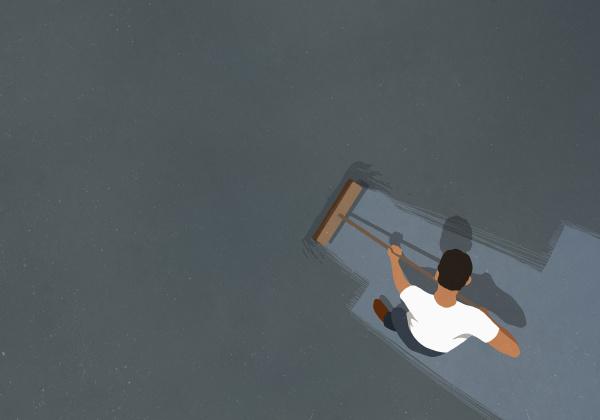 man, sweeping, floor, with, broom - 27357469