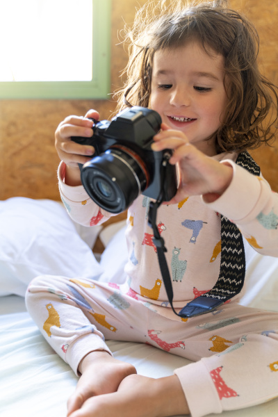 cute little girl in pajamas in