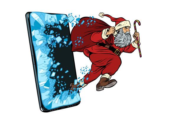 christmas online sales concept santa claus