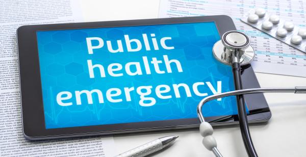 the word public health emergency on