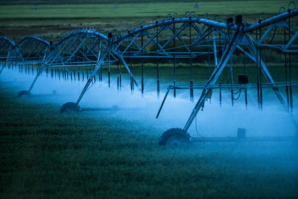 irrigation system spraying crop field at