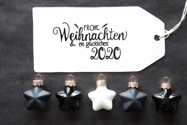 black christmas ball label glueckliches 2020
