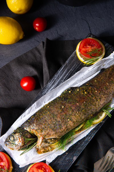 baked trout with herb filling and