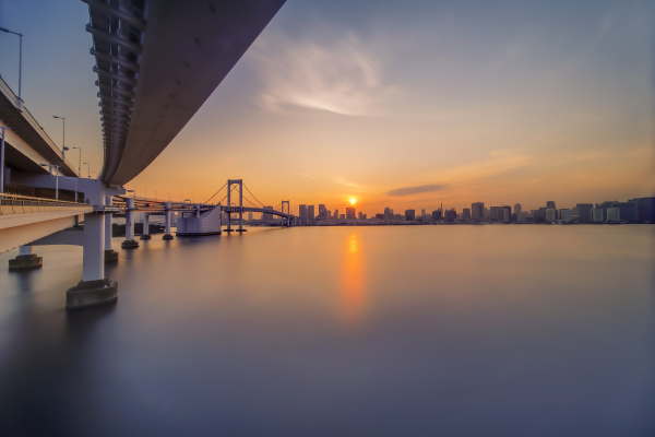 long exposure photography of sunset on