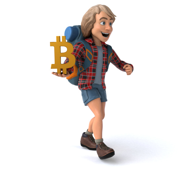 fun, backpacker, cartoon, guy - 27430697