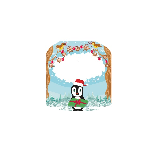 lovely penguin with a christmas gift