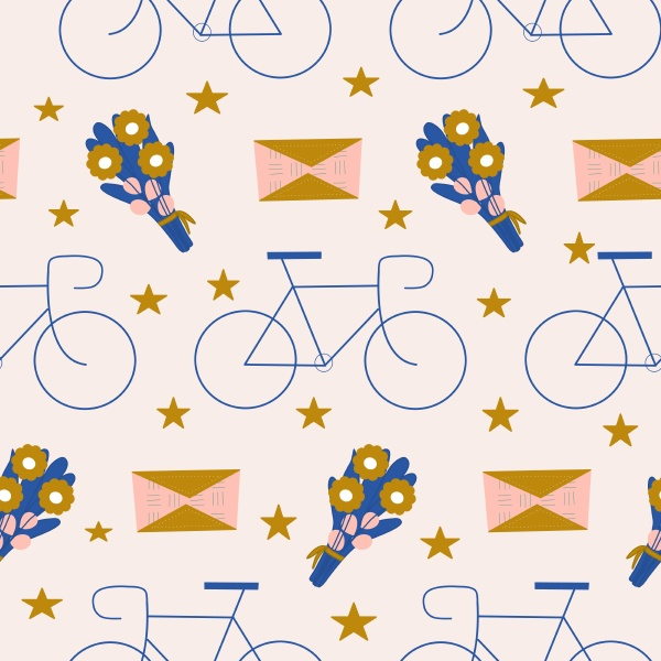 bicycle flowers and stars