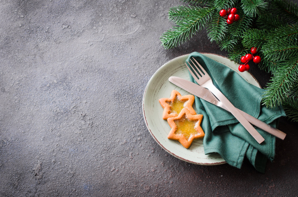 christmas festive table setting with decorations