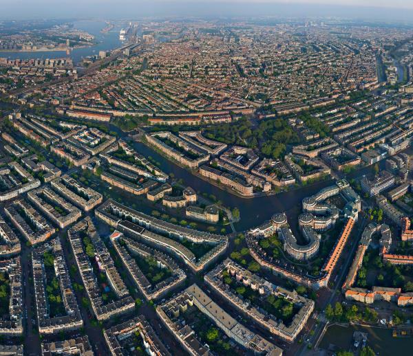 aerial view of amsterdam neighbourhood