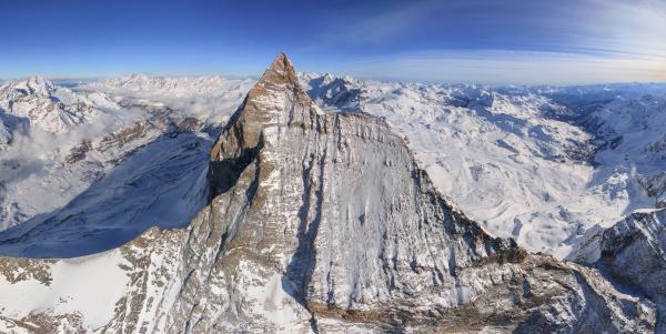 aerial view of the matterhorn mountain