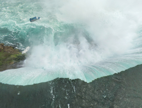 aerial view of boat near to