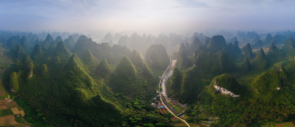 panoramic aerial view of guilin mountains