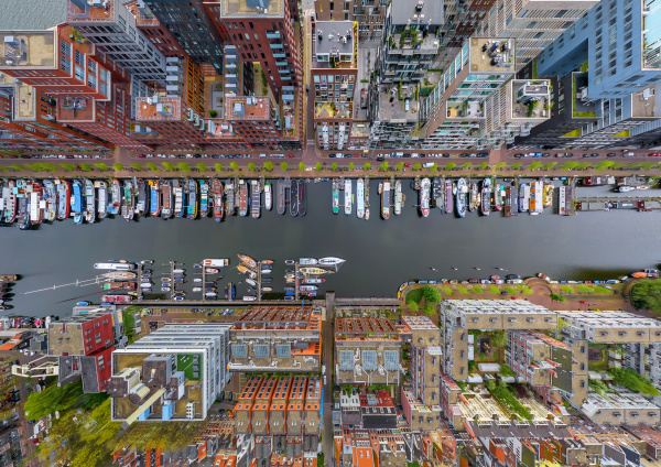 aerial view above of boats anchored