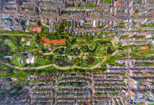 aerial view of vondel park amsterdam