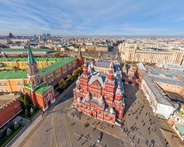aerial view of kremlin at moscow