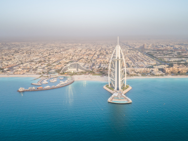 aerial view of the luxurious burj