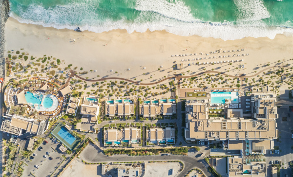 aerial view of resort and beach