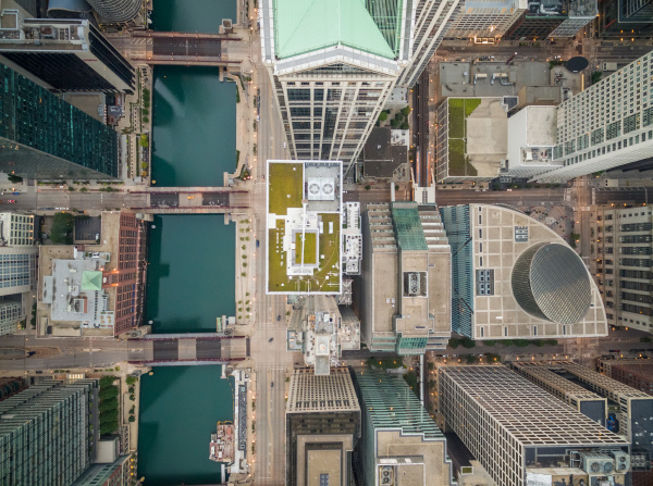 aerial view above of chicago cityscape