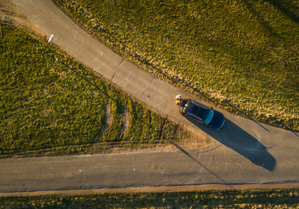aerial view of a car in