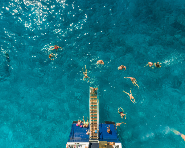 aerial view of people in ferry
