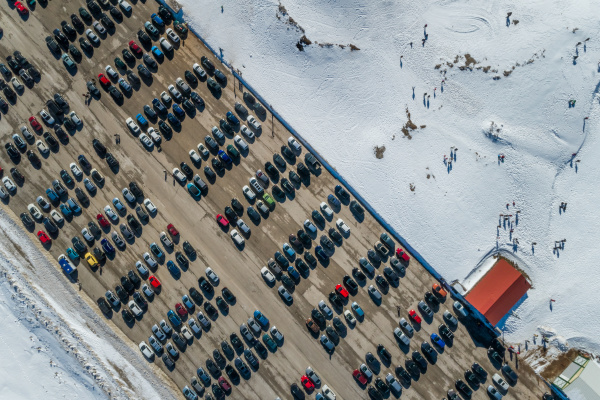 aerial view of cars at parking