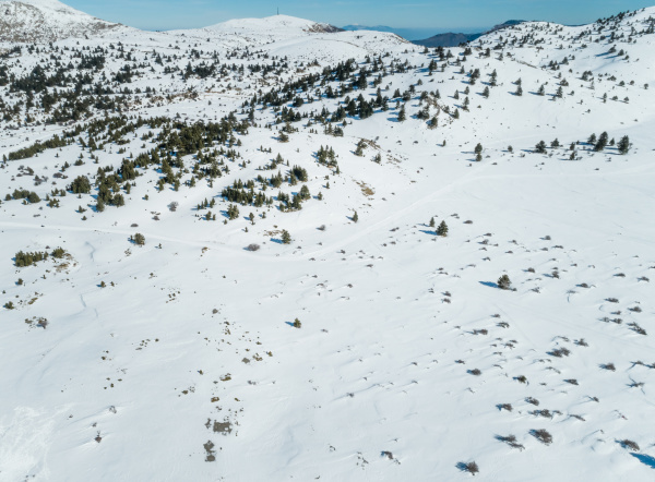 aerial view of mount erymanthos covered