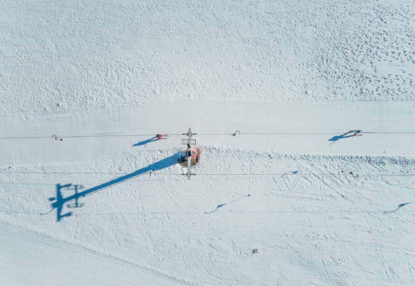 aerial view of ski lift at