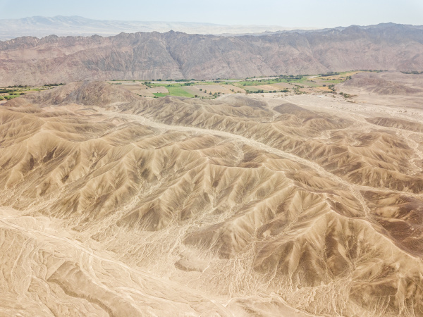 aerial view of rock formations and