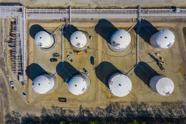 aerial view of petrochemical storage tanks