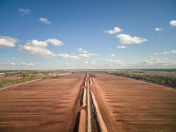 aerial view of soil irrigation in