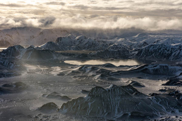 aerial view of landmannalaugar sunrise