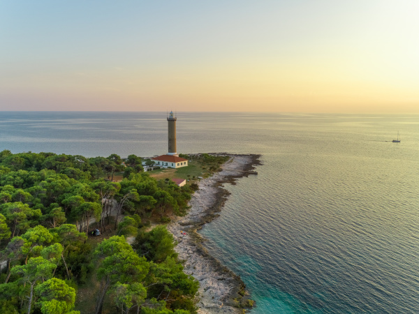 aerial view of veli rat lighthouse