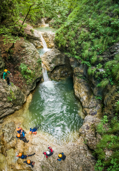 aerial view of group canyoning