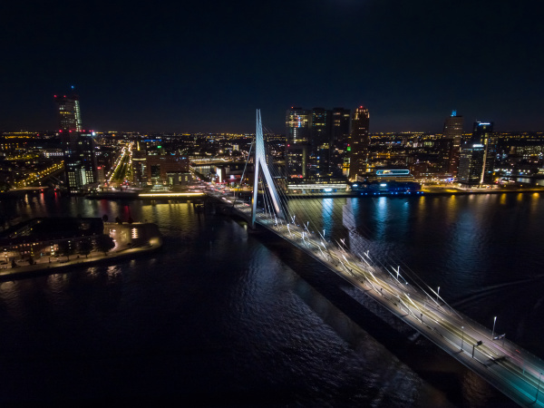 aerial view of rotterdam and his