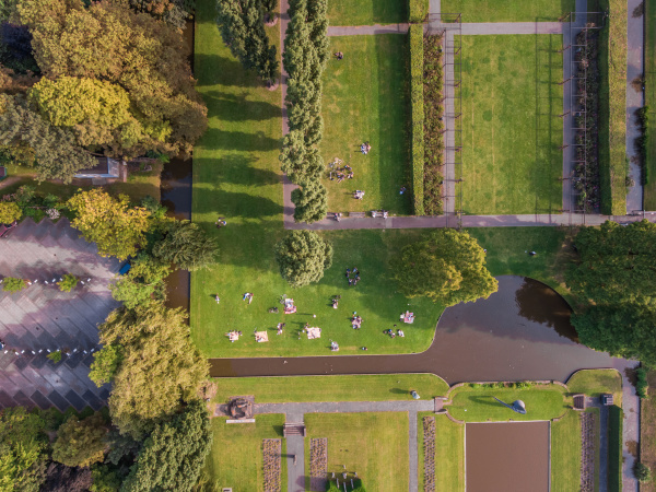 aerial view of a park in