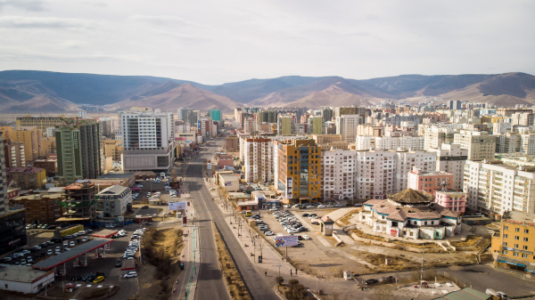 aerial view of ulanbaatar without cars
