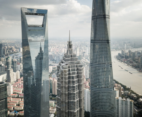 aerial view of shanghai skyline with
