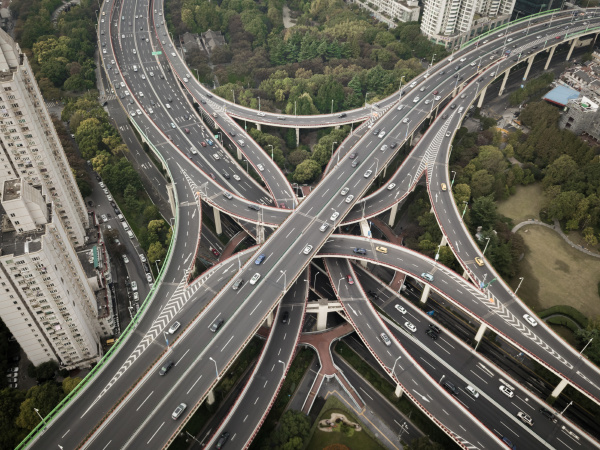 aerial view of multi level interchange