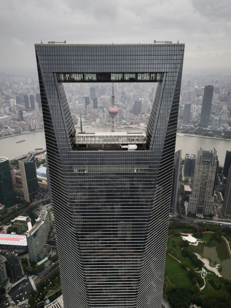aerial view of world financial centre