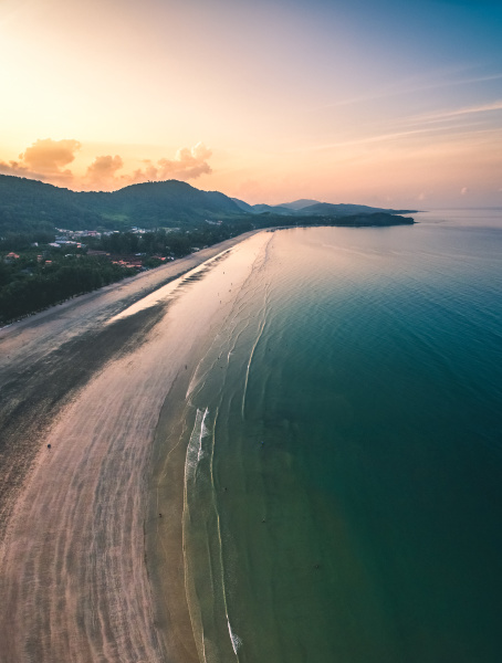 aerial view of tropical beach at