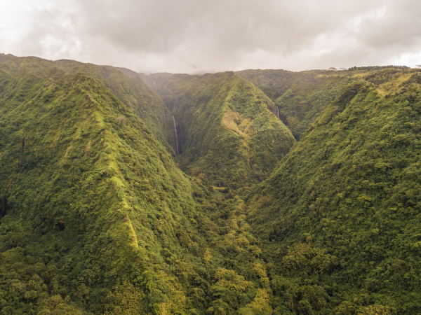 aerial view of tahiti mountains with