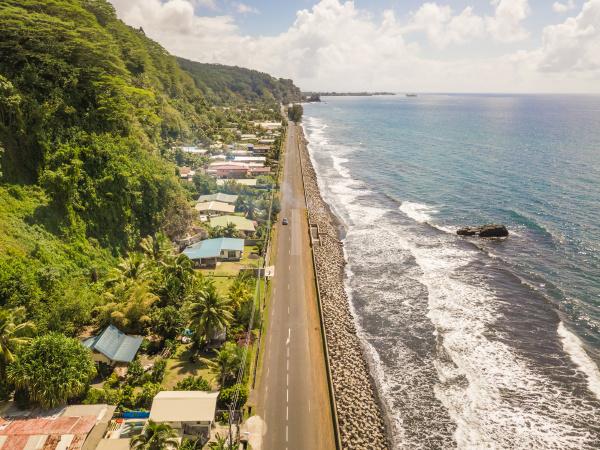 aerial view of tahiti coastline