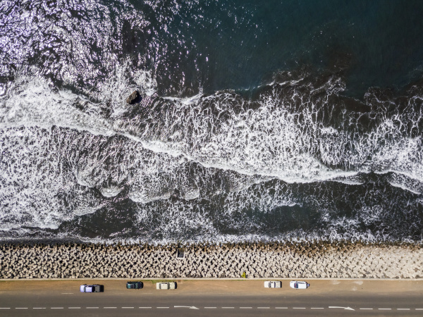 aerial view of stormy sea on