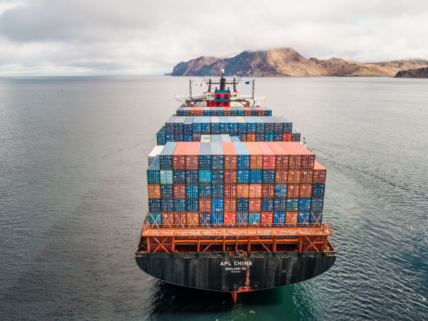 aerial view of a shipping boat