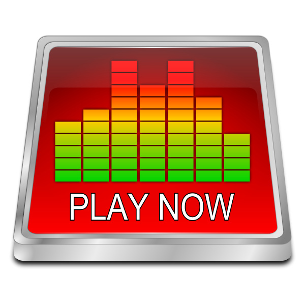 red play now button 3d