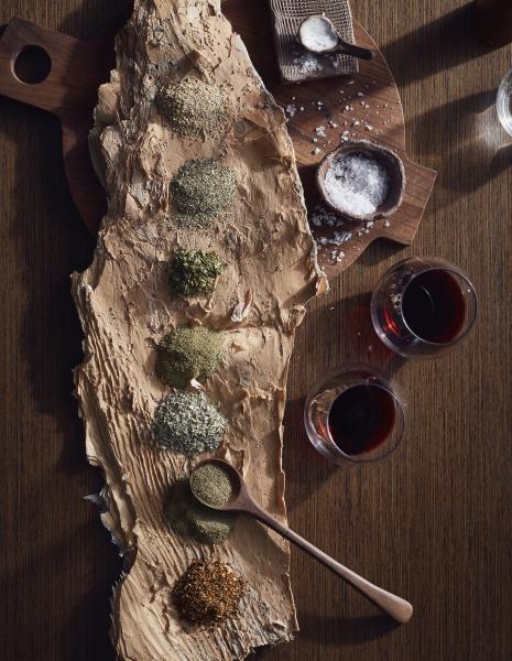 variety of bush spices on log
