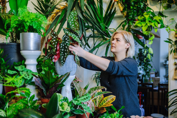 proud owner tending to plants in