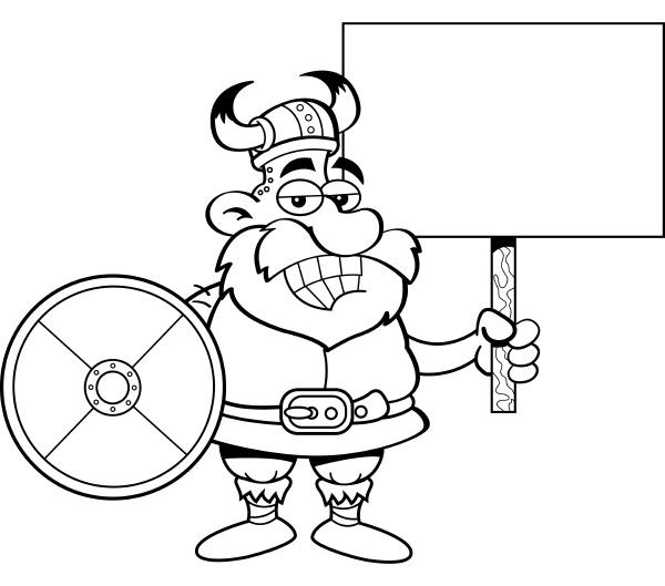 black and white illustration of viking