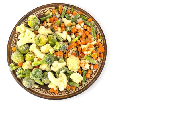 sliced frozen vegetables on a white