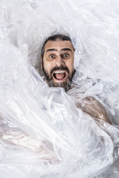 portrait of a bearded man wrapped